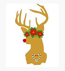 Cute Reindeer Gold Christmas Santa T-shirt Kids funny Photographic Print