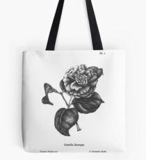 "No. 2 "" The Camellia"" Botanical Ballpoint Pen Drawing Tote Bag"