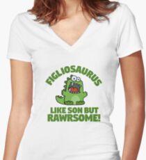 Figliosaurus Pun Funny Cute Dinosaur Cartoon Women's Fitted V-Neck T-Shirt