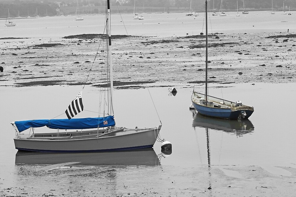 Two Boats at Low Tide by Pam Blackstone