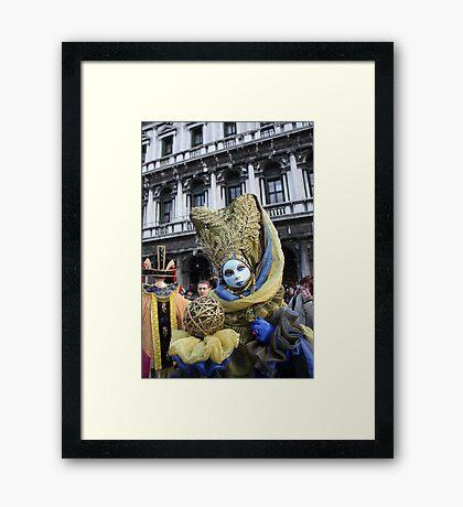 Venice Carnivale-Goer in Blue and Gold Framed Print