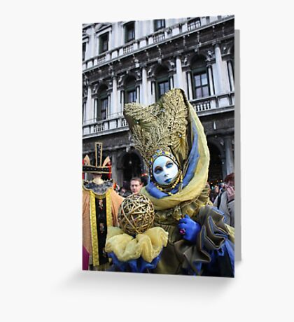 Venice Carnivale-Goer in Blue and Gold Greeting Card