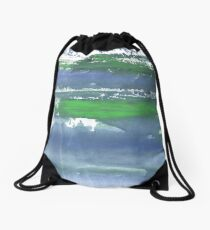 Blue green stained watercolor background Drawstring Bag