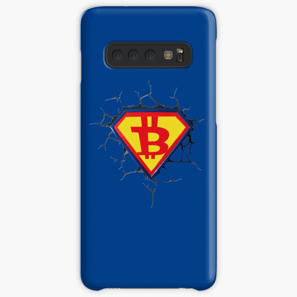 Weinlese-Bitcoin-Logo HODL Superheld-T-Shirt Hüllen & Klebefolien für Samsung Galaxy