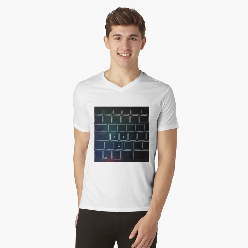 SZA - STRG Tastatur T-Shirt mit V-Ausschnitt