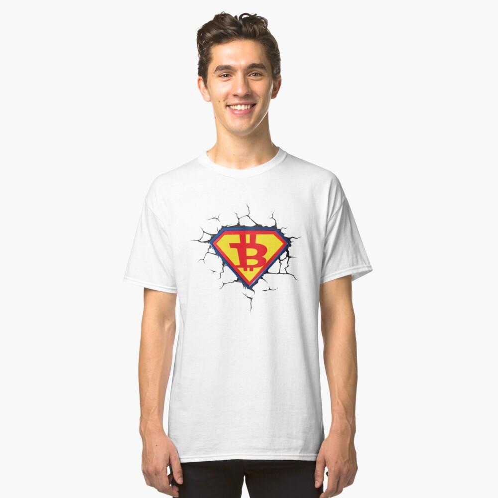 Weinlese-Bitcoin-Logo HODL Superheld-T-Shirt Classic T-Shirt