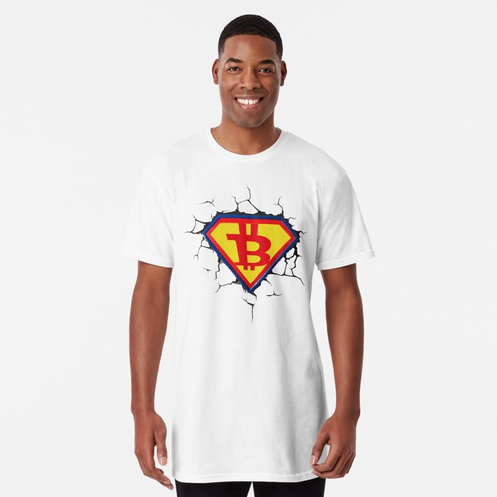 Weinlese-Bitcoin-Logo HODL Superheld-T-Shirt Longshirt