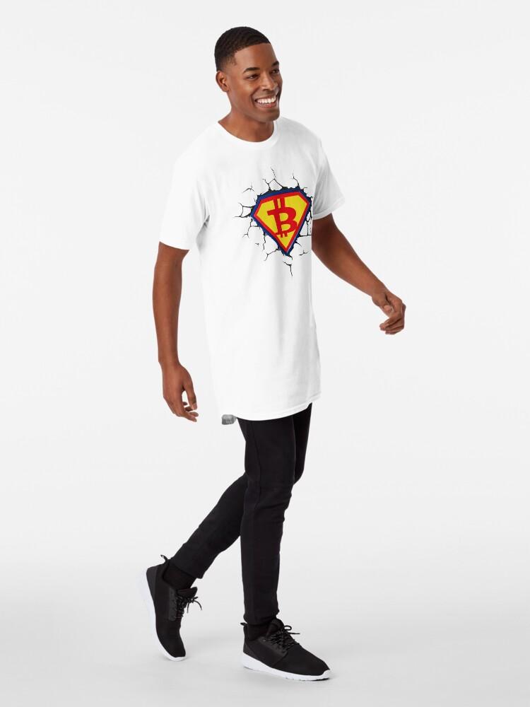 Alternative Ansicht von Weinlese-Bitcoin-Logo HODL Superheld-T-Shirt Longshirt