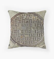 NYC Sewer Cover. Throw Pillow