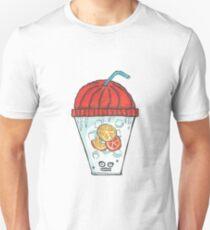 watercolor illustration - freezing face ice drink lemon, orange, ice cubes with orange beanie  T-Shirt