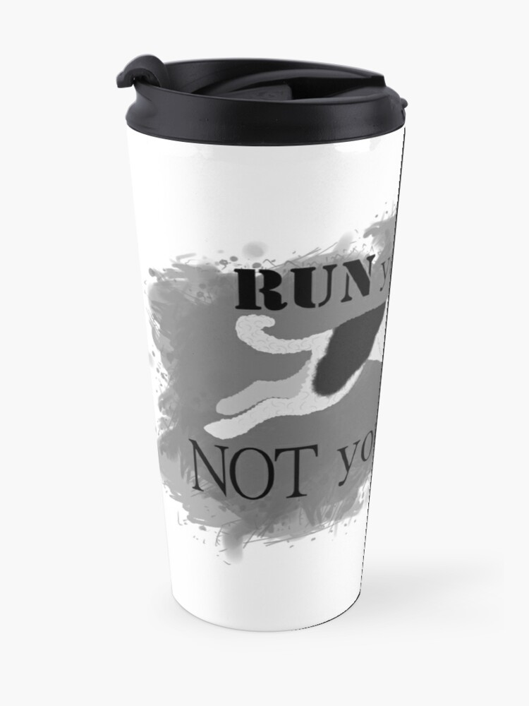 Alternate view of Run Your Dog Not Your Mouth Poodle Parti Black and White Travel Mug