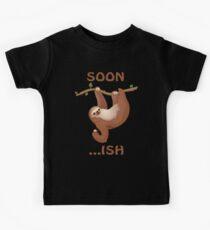 Funny Sloth Hanging Soon Illustration Shirt   Kids Clothes