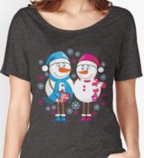 Lovers snowmen. Christmas. Winter. Women's Relaxed Fit T-Shirt