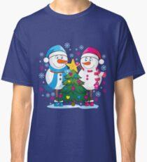 Lovers snowmen. Christmas. Winter. Classic T-Shirt