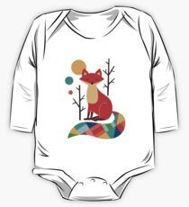 Retro Abstract Fox Long Sleeve Baby One-Piece