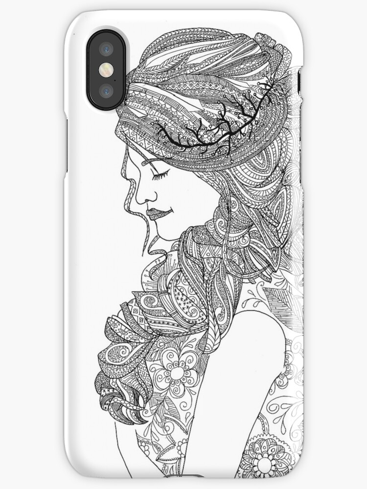 Coloring For Adult Woman Iphone Cases Covers By Yuna26 Redbubble