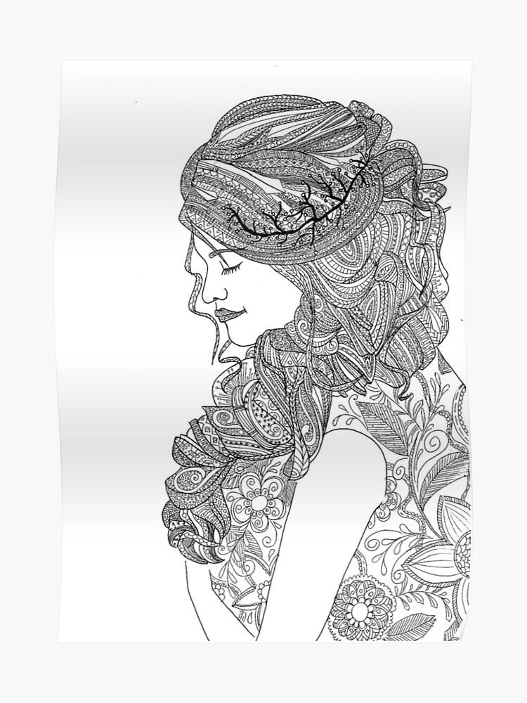 Dibujos Para Colorear Para Los Adultos Mujer Póster