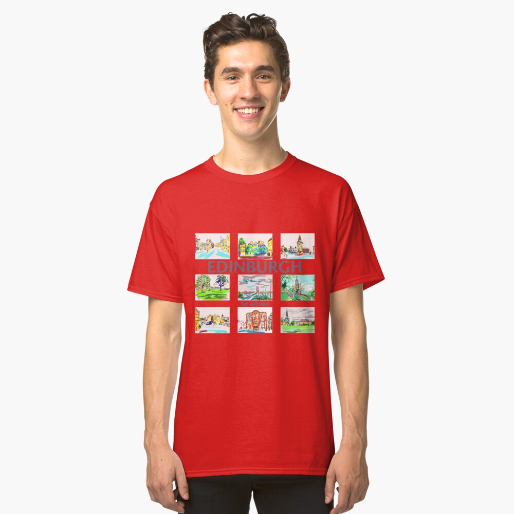 Edinburgh in a panel of 9 at full colour  Classic T-Shirt Front