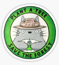 """Totoro """"plant a tree save the forest"""" Sticker"""
