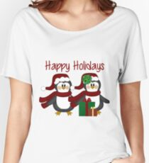 Adorable Holiday Penguins Women's Relaxed Fit T-Shirt