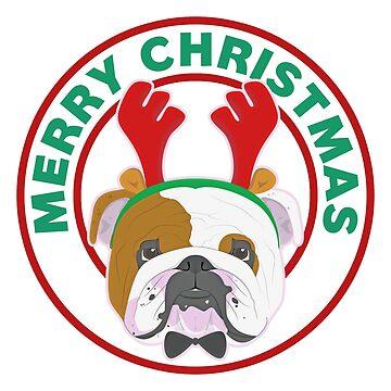 Merry Christmas English Bulldog by CafePretzel