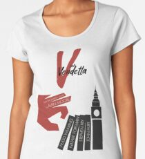 V for vendetta, minimal movie poster, with Natalie Portman, Stephen Fry, film based on the graphic novel by Alan Moore on Guy Fawkes Women's Premium T-Shirt