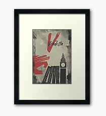 V for vendetta, minimal movie poster, with Natalie Portman, Stephen Fry, film based on the graphic novel by Alan Moore on Guy Fawkes Framed Print