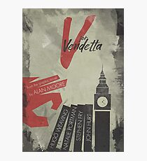 V for vendetta, minimal movie poster, with Natalie Portman, Stephen Fry, film based on the graphic novel by Alan Moore on Guy Fawkes Photographic Print