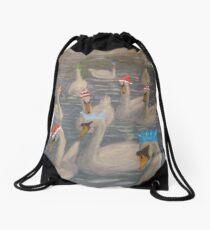 Nene Swans Christmas Party Drawstring Bag