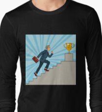 Pop Art Businessman Walking Up Stairs to Golden Cup.  T-Shirt