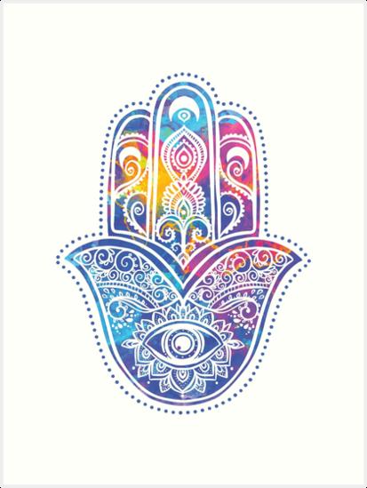 namaste psychedelic hamsa hand art prints by magneticmama redbubble