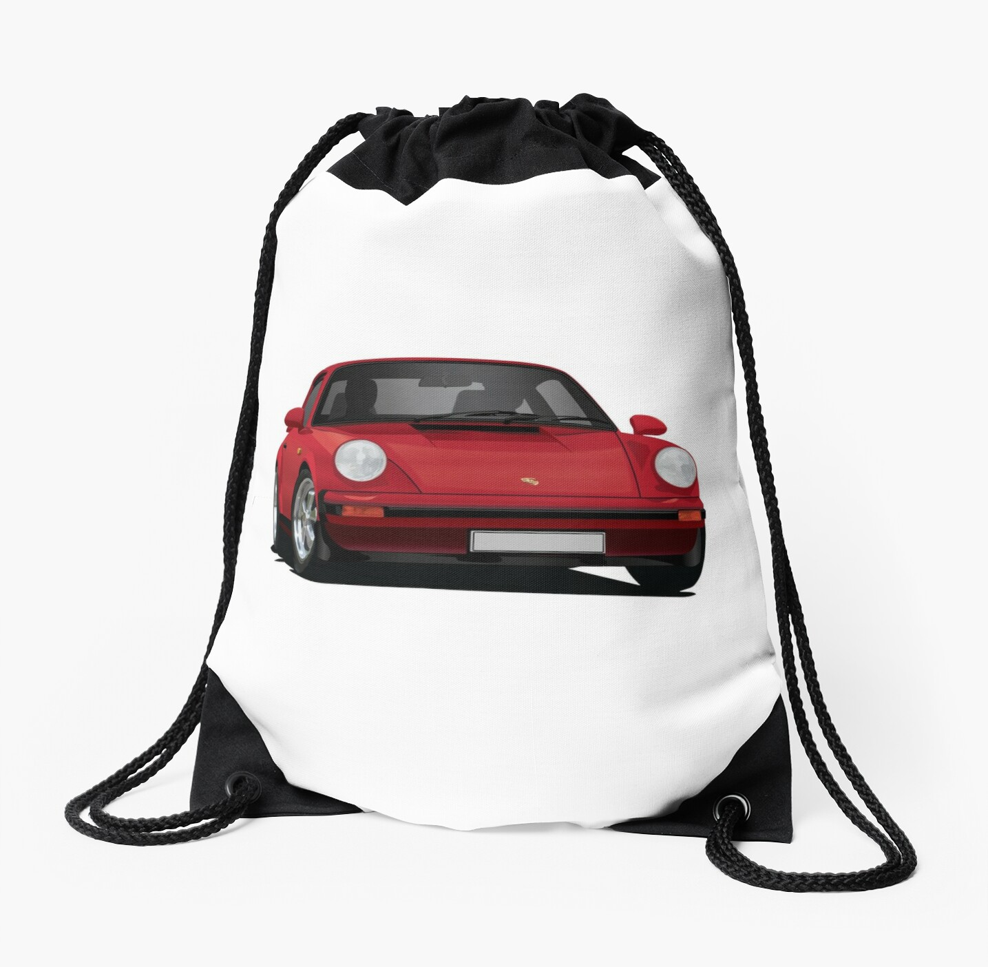 Porsche 911 Illustration Red Drawstring Bags By Knappidesign