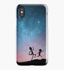 Rick and Morty Running Through Galaxy iPhone Case/Skin