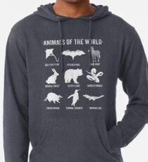 Simple Vintage Humor Funny Rare Animals of the World Lightweight Hoodie