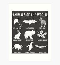 Einfache Vintage Humor Lustige seltene Tiere der Welt Kunstdruck
