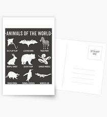 Einfache Vintage Humor Lustige seltene Tiere der Welt Postkarten