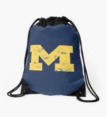 Vintage Michigan Block M Yellow Drawstring Bag
