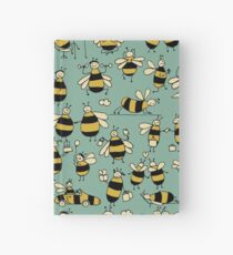 Funny bees, seamless pattern Hardcover Journal