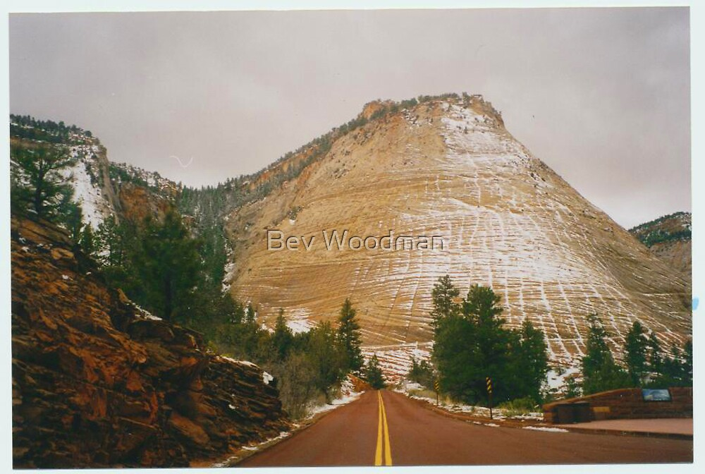 Zion Canyon - Utah - Dusted in Snow by Bev Woodman