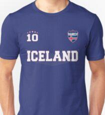 Island Soccer Shirt mit Flagge, Schild und Nummer 10 Slim Fit T-Shirt