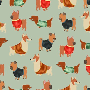 Dogs in Sweaters on Blue by carabara