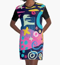 Trendy Abstract Art Pattern Graphic T-Shirt Dress