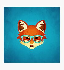 Hipster Fox: Blue Photographic Print