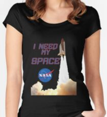 I need my space NASA LOGO Women's Fitted Scoop T-Shirt