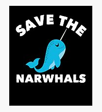 Save The Narwhals, Narwals Tshirt For Kids And Adults Photographic Print