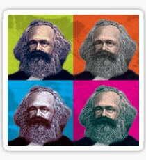 KARL MARX - FATHER OF SOCIALISM, 4-UP WARHOL-STYLE COLLAGE ILLUSTRATION Sticker