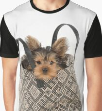 Cute Yorkshire Terrier dog sitting in a bag Graphic T-Shirt