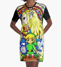 Zelda Wind Waker Stained Glass  Graphic T-Shirt Dress