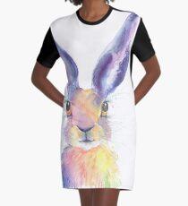 Rainbow Hare Graphic T-Shirt Dress
