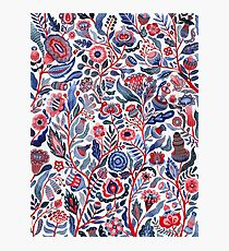 Floral pattern pink-blue Photographic Print